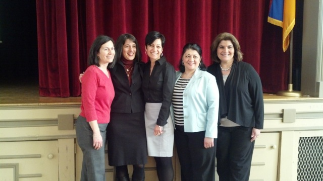 With former schoolmates at the Saint James Armenian Cultural Center in Watertown