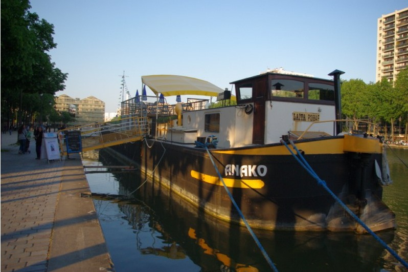 The Peniche Anako, a cultural center housed on a canal barge in Paris