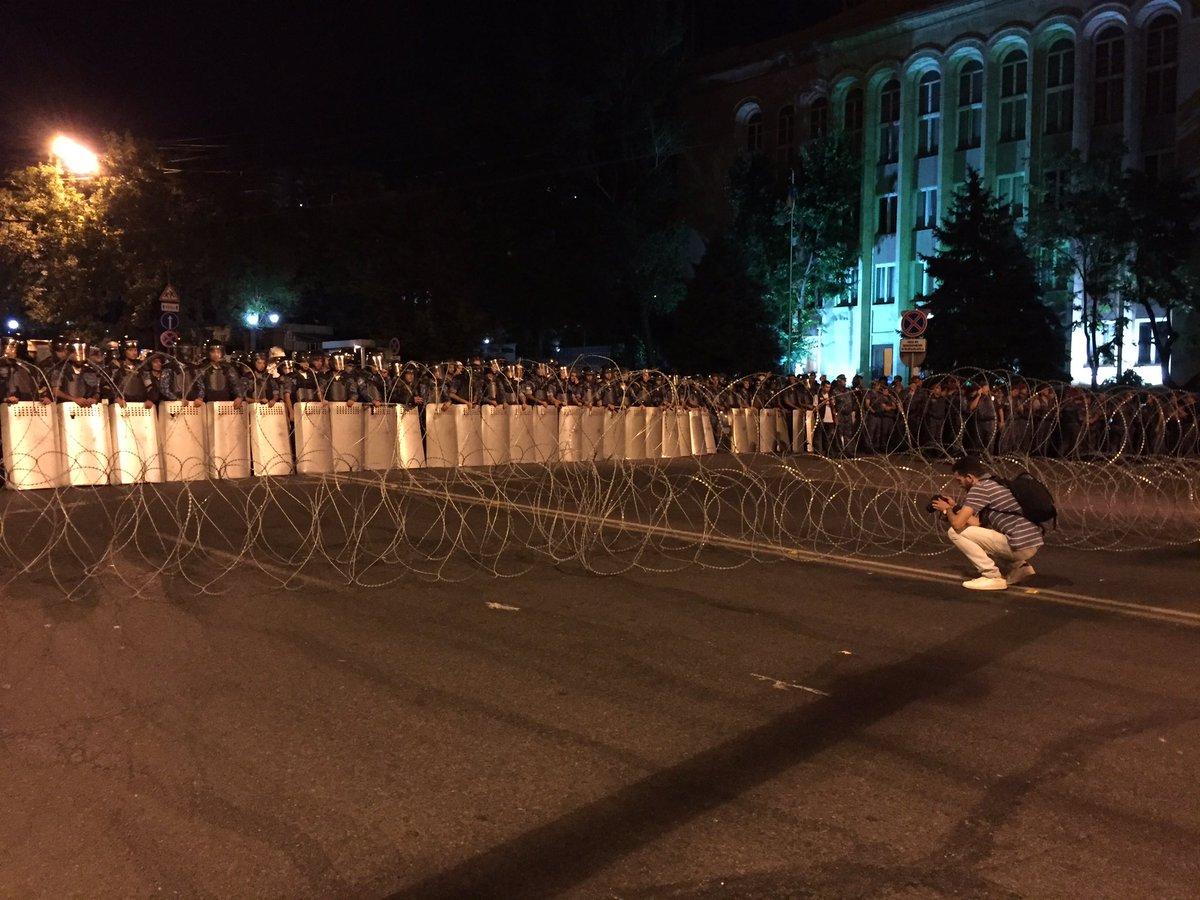 Police and Barbed Wire Blockade in Yerevan, 7/16