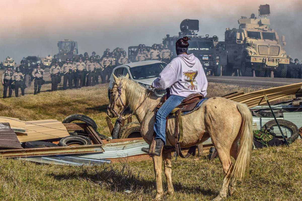 Water protector at Standing Rock encampment